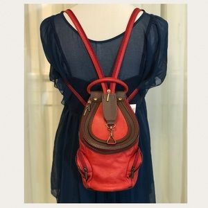 Il Giglio Red Leather Satchel Sling Backpack Purse